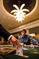Croupier putting money in slot of gambling table, section