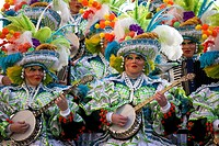 Performers in the annual New Year´s Day Mummers Parade.