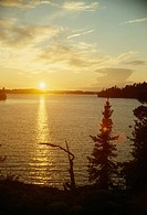 Sunset over Lake of the Woods.