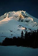 Mount Hood in the Cascade Mountains towers over northeast Oregon.