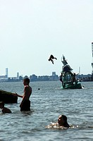 Port of Rotterdam, Heyplaat, summertime, swimming in the new meuse