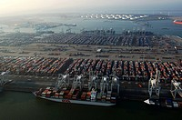 Port of Rotterdam, Maasvlakte, aerial view of the ECT cargo container terminal