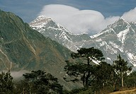Lenticular clouds over Mount Everest, seen from Tengboche.
