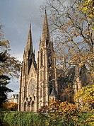 'ST-PAUL' SANDSTONE PROTESTANT CHURCH 19th Century IN AUTUMN STRASBOURG ALSACE FRANCE
