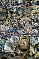Crushed aluminium cans for recycling