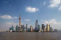 China, Shanghai, Pudong, skyline with Oriental Pearl TV Tower