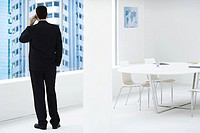 Businessman standing, looking out window, using cell phone