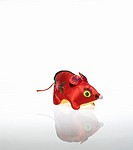 Chinese mouse toy on white background
