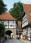 Germany. Tecklenburg, Tecklenburg Country, Muensterland, nature reserve North Teutoburg Forest-Wiehengebirge, North Rhine-Westphalia, half-timbered ho...