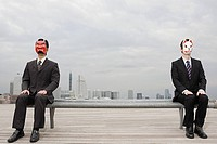 Portrait of businessmen wearing masks