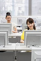 Female students in computer room