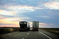 2 Trucks on the Trans Canada Highway, Saskatchewan, Canada