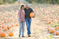 A senior couple walking through a field of pumpkins