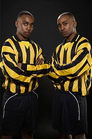 Twins in football kit