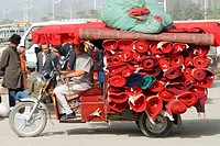 China, Xinjiang, Keriya, carpets transportation