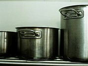 Pasta pots in commercial kitchen,close_up