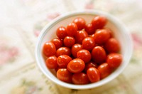 Freshly picked Cherry Tomatoes. Solanum lycopersicon. August 2007, Maryland, USA