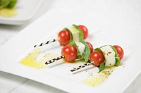 Skewered tomatoes and cheese