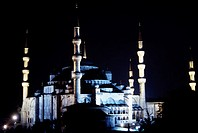 Illuminated cathedral at night