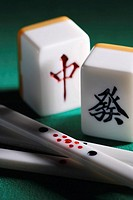 Mahjong tiles and chips