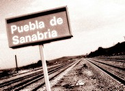 Puebla de Sanabria train station sign. Zamora province, Castilla-Leon, Spain