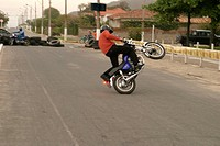 Acrobatics with motorcycle, Encounter Of Motorcyclists, Imbituba, Santa Catarina, Brazil