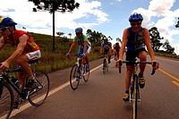 Cyclists in the Highway, Caxias do Sul, Rio Grande do Sul, brazil