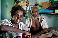 Young aborigine man visiting his elders in Aborige community of Wugularr (aka Beswick), Arnhem Land, Northern Territory, Australia