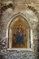 Taormina Sicily Italy Mosaic of the Virgin and Child in the Church of San Giuseppe