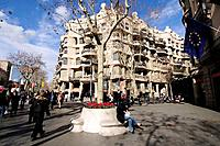 Mila House (aka La Pedrera) by Gaudi in Passeig de Gracia, Barcelona. Catalonia, Spain