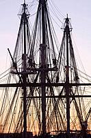 'USS Constitution' rigging, sunrise, Navy Yard, Charlestown, MA  'Old Ironsides', USA