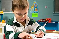 A boy writing