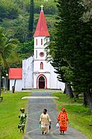 New Caledonia, Northern Grande Terre Island, POINDIMIE, Tie Mission church with churchgoers