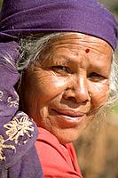 Nepal, Tanahun, Dumre, Ancient Newari mountain village of Bandipur, Local woman