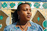 African woman with paint on face