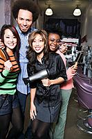 Multi_ethnic hair stylists in salon