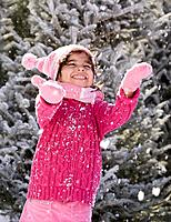 Hispanic girl in snow