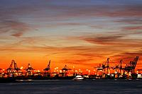 Cranes in harbour, Hamburg, Germany