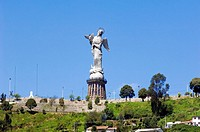 Ecuador - Pichincha Province - Quito. UNESCO World Heritage List, 1978. Monumental statue of winged Virgin on El Panecillo hill
