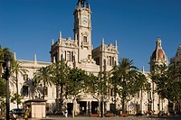 Spain - Valencia. City Hall Ayuntamiento building, 19th-20th century
