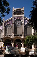 Spain - Valencia. Modernist 'Mercado Central' central market building, 1914. Facade