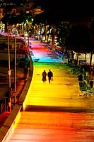 The new lighting plan of the city of Cannes: permanent illumination of the Boulevard de la Croisette. Alpes-Maritimes, France (December, 2007)