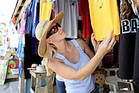 Girl shopping at a flea market