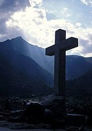 Cross on a hillside, Courmayeur, Italy