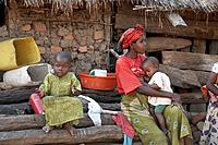 Woman with her children, Kalabezo. Tanzania