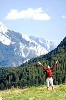 woman, mountain