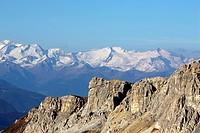 italy, veneto, dolomites, panorama from col di lana