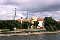 daugava river and castle, riga, latvia, europe