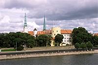 daugava river and castle, riga, latvia, europe