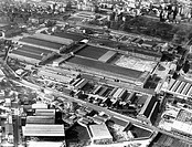 aerial view of the officine meccaniche in milan, 1963